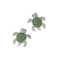 Silverplated Emerald-Color CZ Turtle Post Earrings - Nature's Jewelry