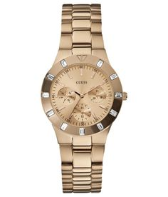 Shop for Guess Women's Gold Stainless-Steel Quartz Watch with Rose-Gold Dial. Get free delivery On EVERYTHING* Overstock - Your Online Watches Store! Daniel Wellington, Rolex, Omega, Burberry, Rose Gold Watches, Sport Watches, Ladies Watches, Shopping, Wristlets