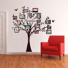 Adesivo Decorativo de Parede de Árvore Genealógica com Fotots e Molduras - FAMÍLIA