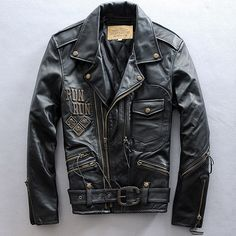 Find More Information about Free Shipping Men Leather Jacket Black 100% Genuine Horsehide Motorcycle Jacket Handsome Oblique Zipper Slim Men Winter Coat Hot,High Quality coats guess,China coats polo Suppliers, Cheap coat outerwear from ShowGirl Fashion on Aliexpress.com