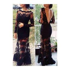 Lace Boat Neck Black Open Back Maxi Dress ($26) ❤ liked on Polyvore featuring dresses, gowns, outfits, black, black gown, long sleeve black gown, maxi dress, long sleeve ball gowns and sexy maxi dress