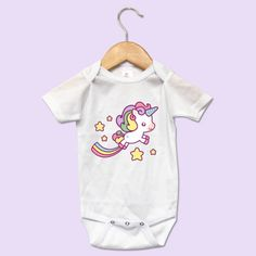 Cute Unicorn Baby Onesie. Handmade item. Made to order. #cuteonesie #giftideas