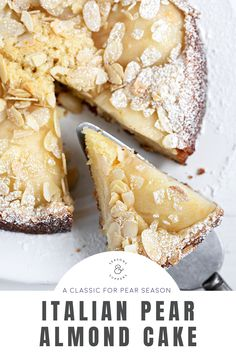 Pear And Almond Cake, Almond Cakes, Pear Cake, Just Desserts, Delicious Desserts, Yummy Food, Baking Recipes, Cake Recipes, Dessert Recipes