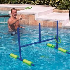 Pool ring toss for the pool. out of pvc and pool noodles. We used florescent…