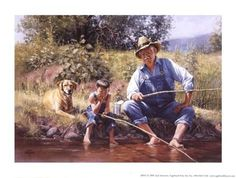 Art Print: Fishin' with Grandpa by Jack Sorenson : Boy Fishing, Trout Fishing, Fishing Tips, Fishing Pictures, Country Art, Country Life, Country Living, Le Far West, Gone Fishing