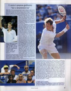 """An article by Vincenzo Martucci from """"Il Tennis Italiano"""" of October 1996 on Stefan Edberg's last Grand Slam tournament at the 1996 US Open. After losing in his quarter final match against Goran Ivanisevic, the Swede receives an award for his extraordinary Grand Slam career."""