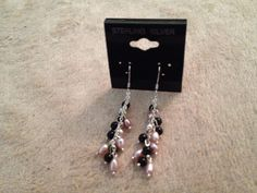 Black Bead and Pearl Earrings - pinned by pin4etsy.com