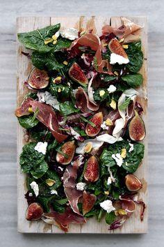 Fig, Arugula Prosciutto, Pistachios, and Goat Cheese Salad