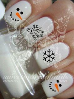 Christmas Xmas Nail Art Snowing Snowflakes Let It Snow Snowman Water Decals Nail Transfers Wraps Nail Art Noel, Holiday Nail Art, Xmas Nails, New Year's Nails, Winter Nail Art, Christmas Nail Designs, Cute Nail Art, Christmas Nail Art, Winter Nails