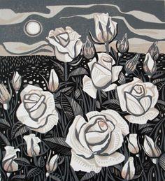 Roses ~ Linocut Reduction ~ Jane Walker