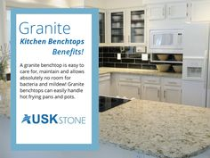 Granite Kitchen Benchtops – Benefits! - A granite benchtop is easy to care for, maintain and allows absolutely no room for bacteria and mildew! Granite benchtops can easily handle hot frying pans and pots.