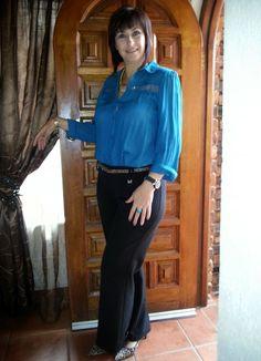 Work wear - classic black trousers (Finnigans @ Truworths) and blue shirt (Legit)