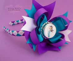 Princess Jasmine Custom Bottle Cap Boutique Bow and Woven Headband in Purple, Turquoise and White. $12.00, via Etsy.