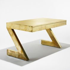 Brass over wood desk by Gabriella Crespi, circa 1975
