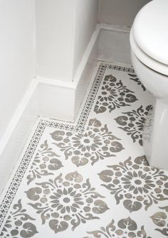 Tile Stencil Tile Stencils for DIY – paint your Tiles yourself! Tiles for wall floor fabrics furniture carpet wood - Painted Floor Tile Painting Tile Floors, Painted Floors, Diy Painting, Painted Floor Tiles, Painted Bathroom Floors, Bathroom Floor Tiles, Wall Tiles, Bathroom Stencil, Stencil Concrete