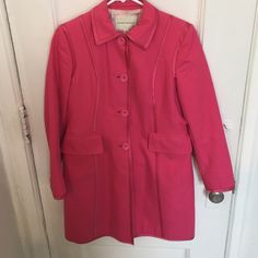 Pink Banana Republic coat Pink coat , trimmed with silk lining . Pale pink Silk lining on inside of coat . Light wear . There are a few tiny stains on the inside of the coat . Overall adorable and clean looking . Nice tailored lines Banana Republic Jackets & Coats