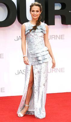Alicia Vikander in a silver sequin Louis Vuitton dress