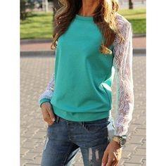 #NewYear #Twinkledeals - #TwinkleDeals Sweet Round Neck Lace Splicing Long Sleeve Sweatshirt For Women - AdoreWe.com