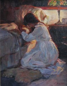"""...knowing Who to turn to... (''Dear Lord Jesus Please'' by Emily  Schultz Oil ~ 14"""" x 11"""")"""
