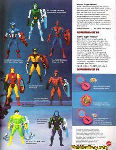 Marvel Comics of the 1984 - Marvel Super Heroes Secret Wars . Marvel Secret Wars, Toy Catalogs, Classic Toys, Cool Toys, Captain America, Marvel Comics, Action Figures, Spiderman, Comic Books