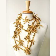 new collection of fiber art jewelry: necklace / lariat (9 ft long) crocheted in pure mulberry silk (elenarosenberg.com)
