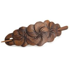 Evolatree Hand Carved Sono Wood Hair Pin Barrette Floral Spindle 45 >>> Details can be found by clicking on the image. Wooden Jewelry, Leather Jewelry, Leather Craft, Wood Carving Designs, Wood Carving Art, Coconut Shell Crafts, Dremel Carving, Leather Tooling Patterns, Handmade Hair Accessories