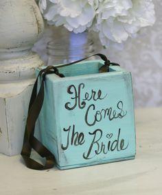 Flower Girl Basket Here Comes The Bride Sign Tiffany Blue Shabby Chic Wedding Decor. $45.50, via Etsy.