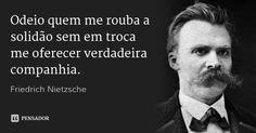 Odeio quem me rouba a solidão sem em troca me oferecer verdadeira companhia. — Friedrich Nietzsche