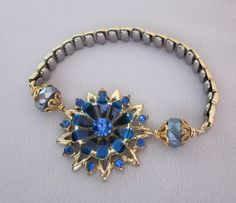 Repurposed Vintage Blue Rhinestone Bracelet, Blue Flower Bracelet, Watch Band Bracelet, Assemblage OOAK Jewelry - JryenDesigns