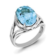 Sterling Silver Rhodium Oval Blue Topaz Ring QR3085BT
