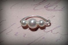 20g Swarovski 4/6/4mm Pearl Belly Button Ring / White / argentium Sterling Silver by ZenGem, $25.00