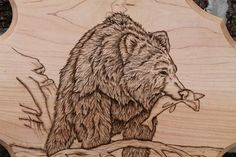 Pyrography fish | Brown Bear with Fish Arrowhead Plaque, Pyrography Artwork