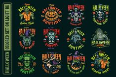 Colorful spooky designs with vampires, witches, zombies, pumpkins, etc. High quality vector illustrations with editable texts. Suitable for apparel designs. Download on www.dgimstudio.com. #vector #halloween #monster #spooky #vectorillustration