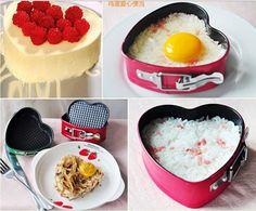 4 de la hebilla del corazón torta del molde de hornear multicolor acero al carbono de bricolaje herramientas de la hornada de la torta del molde molde de corazón