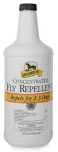 Absorbine Concentrated Fly Repellant Bottle, 32 oz. by Absorbine. $26.91. Size: 32 Oz Spray. One application of this concentrated and economical fly control product kills and repels stable flies, horn flies, house flies, face flies, horse flies, deer flies, bot flies, mosquitoes, gnats and ticks. ? Economical concentrate yields 2 gallons of spray ? Unique formula shines and conditions ? Provides 2-3 days of protection ? Non-oily, water-based formula ? Available in 3...