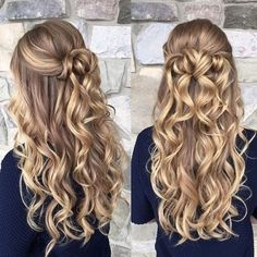 Amazing long blonde curls and navy top homecoming hairstyles Amazing long blonde curls and navy top Grad Hairstyles, Braided Hairstyles, Wedding Hairstyles, Prom Hairstyles For Long Hair Curly, Down Hairstyles For Homecoming, Gorgeous Hairstyles, Dance Hairstyles, Long Hair Formal Hairstyles, Long Hair Curled Hairstyles