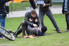 Sean Maguire filming a scene for Once Upon A time - January 27, 2015