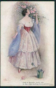 art Aveline glamour Lady & lord Byron poem original old 1910s postcard a05