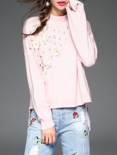 Shop Long Sleeved Tops - Pink Long Sleeve Cashmere Beaded Long Sleeved Top online. Discover unique designers fashion at StyleWe.com.