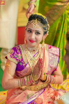 Beautiful Bridal Blouse Designs for South India - Indian Fashion Ideas | Indian Fashion Ideas Beautiful Asian Girls, Beautiful Bride, Bridal Looks, Bridal Style, Gold Silk Saree, Half Saree Function, Bridal Portrait Poses, Wedding Saree Collection, Indian Bridal Wear