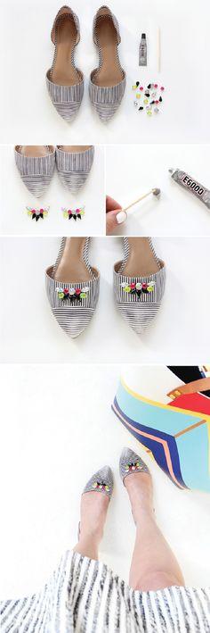 3dc352b36 Striped Gem Shoes - 20 Simple DIY Clothes Refashion Tutorials for Spring
