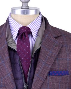 Brunello Cucinelli | Wine with Blue Windowpane Sportcoat | Apparel | Men's