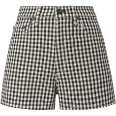 Justine Gingham Shorts ($175) ❤ liked on Polyvore featuring shorts, skirts, gingham shorts, rag bone shorts, high-rise shorts, high-waisted shorts and high waisted cuffed shorts