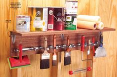 Organize your paint brushes, scrapers, roller frames, rags and paint cans with this shelf made from two 1x8 boards screwed together and reinforced with metal shelf brackets. We built ours 38 in. long to fit three brackets of sliding spring grips that we mounted under the shelf for tool storage. Build and attach this shelf to a shop or basement wall, and you'll enforce orderly storage on all your far-flung painting paraphernalia.