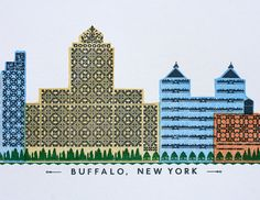 Buffalo skyline letterpress print by starshapedpress on Etsy, $20.00