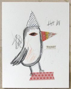 Collage drawing Excited Bird by ColetteCopeland on Etsy