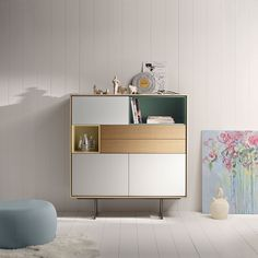 Cylindrical metal legs make the Treku Aura sideboard both practical and aesthetically pleasing, perfect for enhancing your entrance hall. Tv Furniture, Diy Furniture Projects, Cabinet Furniture, Living Room Furniture, Furniture Design, Tall Sideboard, Credenza, Buffet Design, Furniture Manufacturers