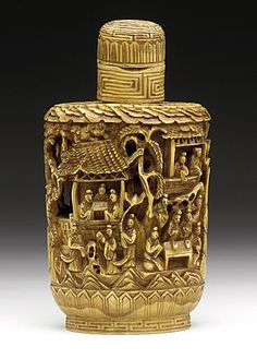 Snuff Bottle (Biyanhu) with Figural Scenes, China, Late Qing dynasty, about 1800-1911, Carved and incised ivory