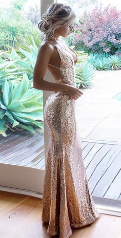 modest champagne sequined prom dresses, simple v neck backless party dresses, chic gold long evening gowns