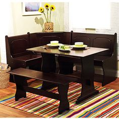 Breakfast Nook 3 Piece Corner Dining Set Espresso Kitchen Table Bench W  Storage